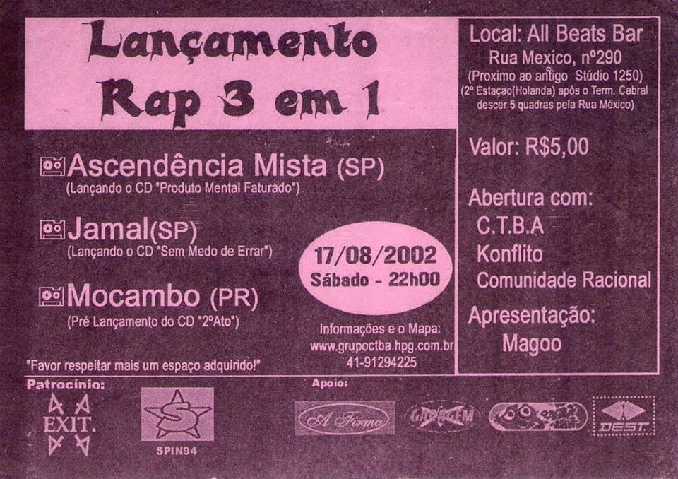 Flyer de show do Ascendência Mista em Curitiba, 2002. Foto retirada da página do grupo no facebook.